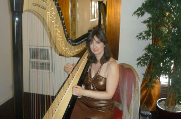 Harpist plays open Air Ceremony-Leyland Hotel , Preston�Pete Welshby photographer